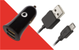 Vodafone Dual USB Car Charger 5V2.4A